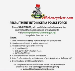 Photo of Nigerian Police Recruitment updates 2020: how to update applicant's record/profile