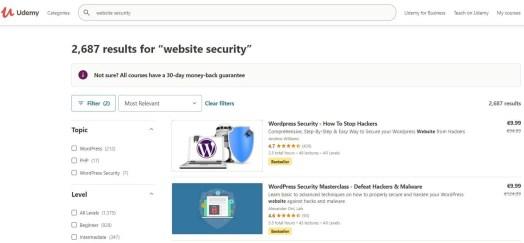 Udemy website security