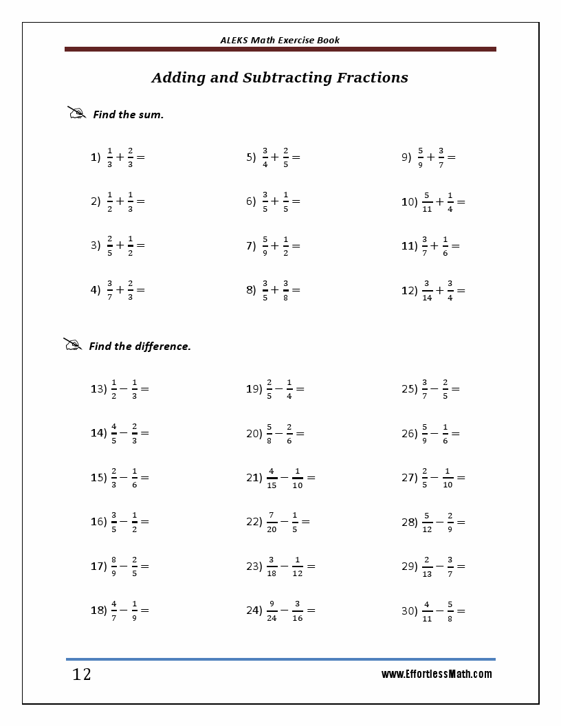 ALEKS Math Exercise Book: Student Workbook and Two