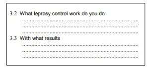 section of form asking user what area of leprosy control they work in and with what results