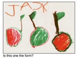 a child's drawing of cherries