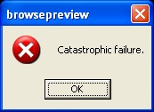 error message reading catastrophic failure with an OK button below