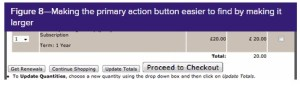the same form but the button labelled proceed to checkout is larger