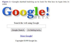 A screenshot of google search showing the labels beneath the text box