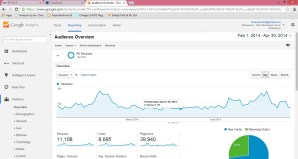 screengrab of a page from Google analytics for a small heritage website