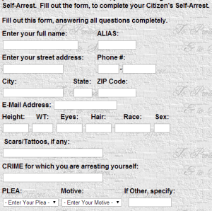 screen grab showing the start of the Citizen's self arrest form