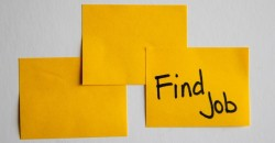 a series of post-it notes, one of which reads 'find job'