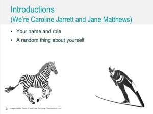 Introductions slide with ski-jumper