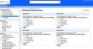 employee survey laid out in two columns