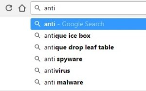 drop down menu of suggestions appearing during a Google search