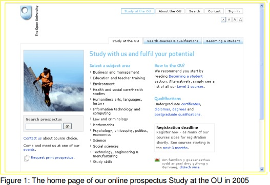Home page of the OU's online prospectus in 2005