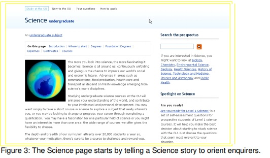 The science page starts by telling a science story to orientate enquirers