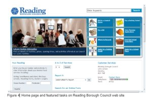 Home page of Reading Council has eight popular tasks prominent at top of page