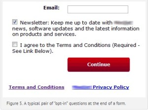 the box asking to be kept up to date via newsletters etc is already ticked as the default