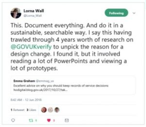 This tweet is a plea to researchers to document everything. Lorna says she had to trawl through four years of presenetations and research to find the reason for a small design change.