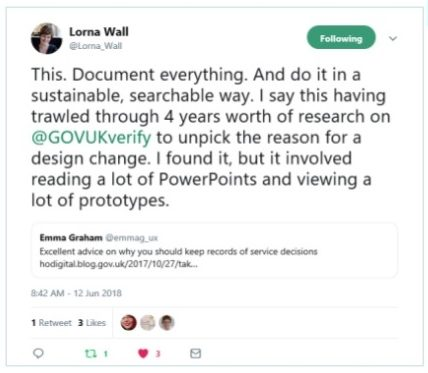 tweet is a plea to researchers to document everything. Lorna says she had to trawl through four years of presenetations and research to find the reason for a small design change.