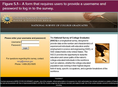 National Survey of COllege Graduates begins with a login box requesting user name and password