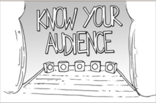 a stage and footlights with the words 'Know Your Audience' across it