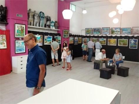 Durante la Exposición de Víctor Juez, en julio 2018