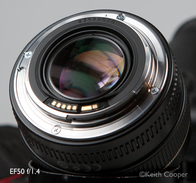 Canon EF50 f/1.4 lens showing manufacturing date codes