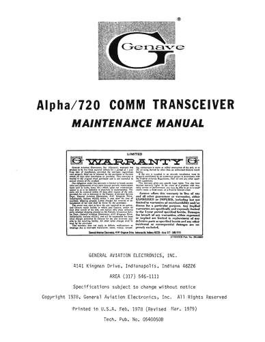 Genave Alpha 720 Comm Transceiver Maintenance Manual (part