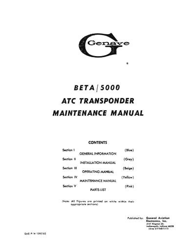 Genave Beta 5000 ATC Transponder Maintenance Manual (part