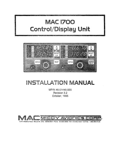 McCoy Avionics MAC 1700 Control-Display Unit Maintenance