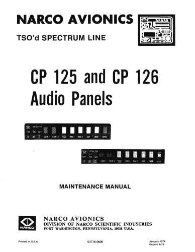 Narco CP-125 & CP-126 Audio Panels Maintenance Manual