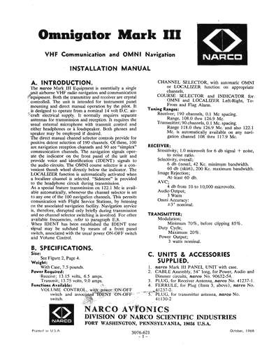 Narco Mark III Omnigator 1966 Installation Manual (part