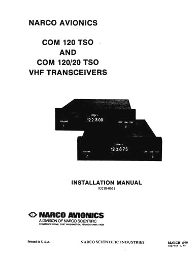 Narco COM 120 TSO & COM 120-20 TSO Installation Manual