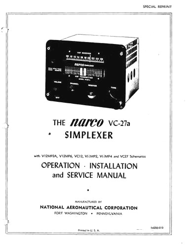 Narco VC-27a Simplexer Operation, Installation and
