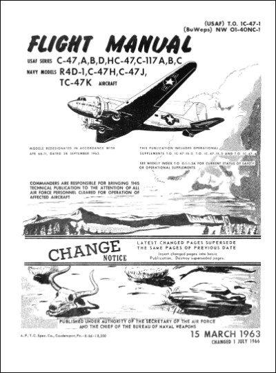 Douglas C-47, C-117, R4D-1 Series 1963 Flight Manual (part