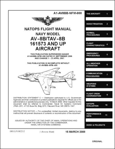 McDonnell Douglas AV-8B, TAV-8B Flight Manual (part# A1