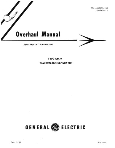General Electric Company Tachometer Generator Type CM-9