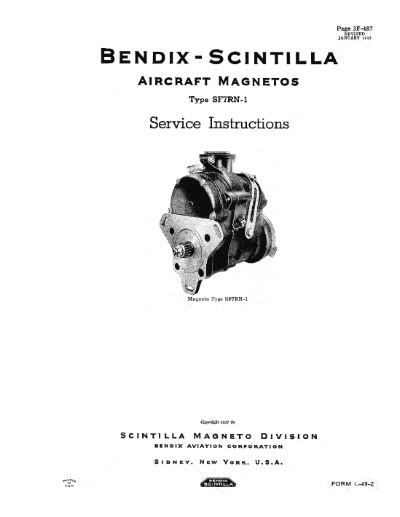 Bendix SF7RN Magnetos 1943 Service Instructions Manual