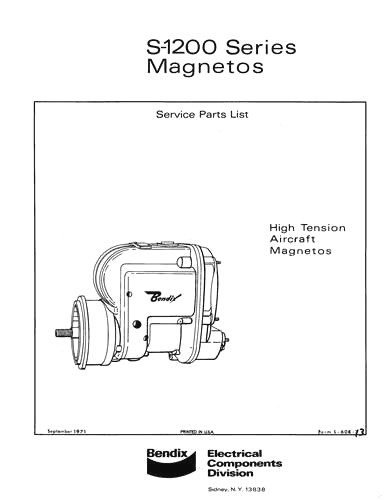 Bendix S-1200 Series Magnetos 1971 Service Parts List