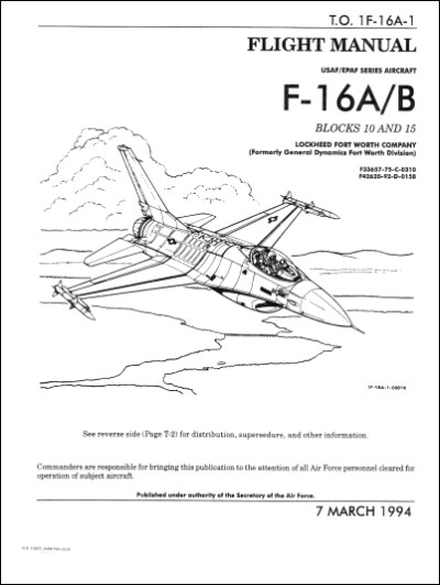 Lockheed F-16A, F-16B 1994 Flight Manual (part# 1F-16A-1)