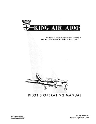 Beech King Air 100 Series POH Pilot's Operating Handbook