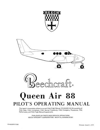 Beech Queen Air 88 Series POH Pilot's Operating Handbook