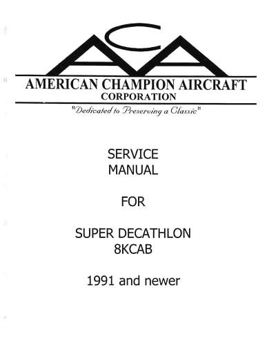 Bellanca 8KCAB Maintenance Manual 1991 & Newer (part# BL8KCAB)