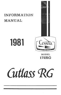 Cessna 172RG Cutlass RG 1981 Pilot's Information Manual