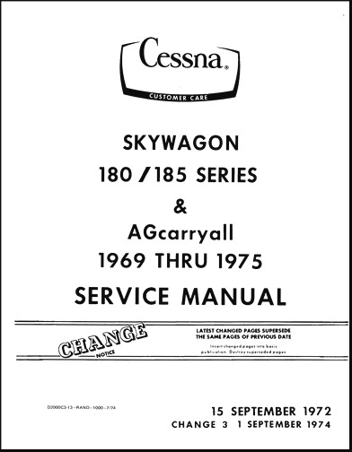 Cessna 180/185 Series Maintenance & Parts Manuals