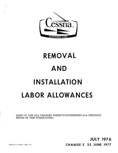 Cessna Removal & Installation Labor Allowances Removal
