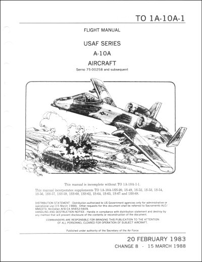 Fairchild Republic A-10A Flight Manual (part# T.O. 1A-10A-1)