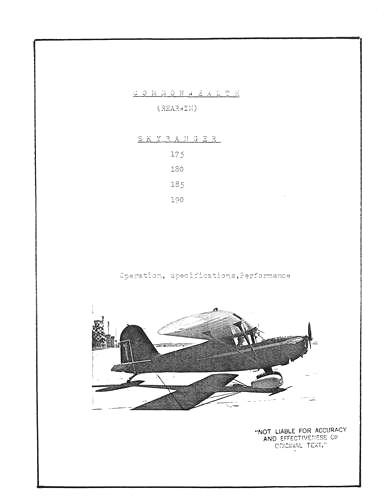 Rearwin Skyranger 175, 180, &180F Operation & Aircraft