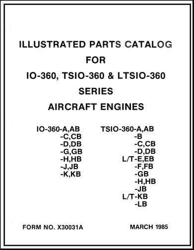 Continental IO, TSIO, LTSIO-360 Series 1985 Parts Catalog