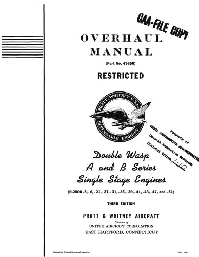 Pratt & Whitney Aircraft Double Wasp A & B Series Overhaul