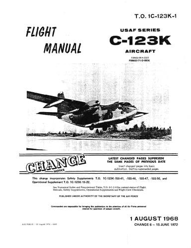 Fairchild C-123K 1968 Flight Manual (part# 1C-123K-1)