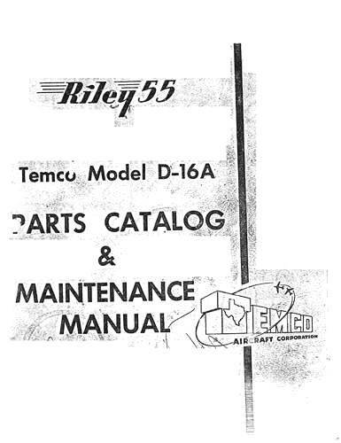 Navion D-16A Temco Parts & Maintenance Manual (part