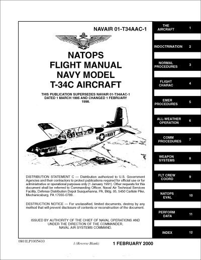 Beech T-34C Flight Manual (part# NAVAIR 01-T34AAC-1)